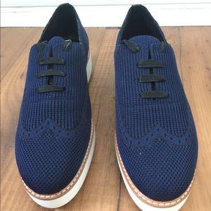 Zara Fabric Platform Derby Shoes size 8